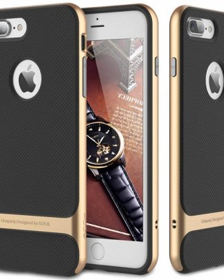 iPhone 8 Plus 7 Plus Rock Royce Ultra Thin Heavy Duty Hard PC + Soft TPU Case - Black/Gold