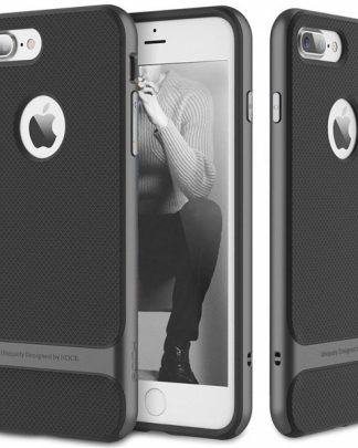 iPhone 8 Plus 7 Plus Rock Royce Ultra Thin Heavy Duty Hard PC + Soft TPU Case - Black/Gray