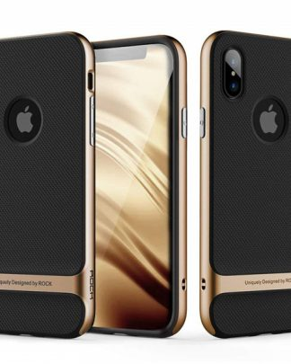 iPhone X Rock Royce Ultra Thin Heavy Duty Hard PC + Soft TPU Case - Black/Gold