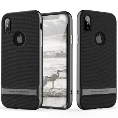 iPhone X Rock Royce Ultra Thin Heavy Duty Hard PC + Soft TPU Case - Black/Gray